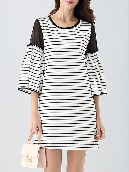 Casual Cotton Stripes Balloon Sleeve Mini Dress