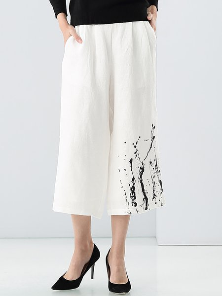 White H-line Casual Dip-Dyed Wide Leg Pants