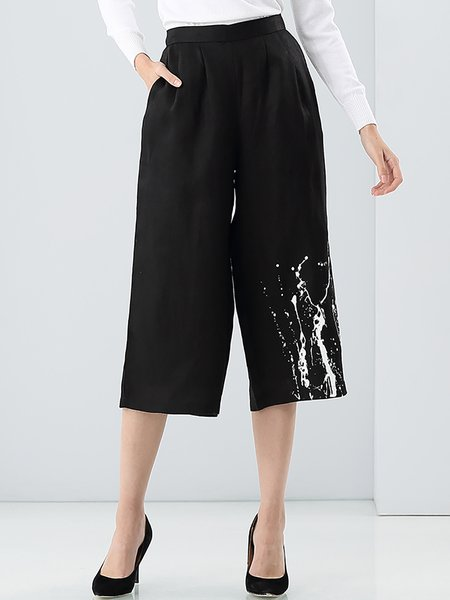 Black H-line Casual Linen Dip-Dyed Wide Leg Pants