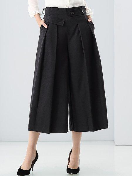 Deep Gray Wool Plain H-line Simple Wide Leg Pants