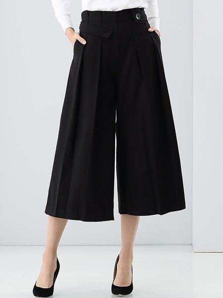 Black Folds Wool Simple Wide Leg Pants