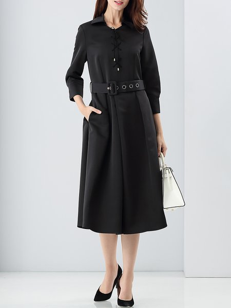 Black A-line Shirt Collar 3/4 Sleeve Lace Up Midi Dress With Belt