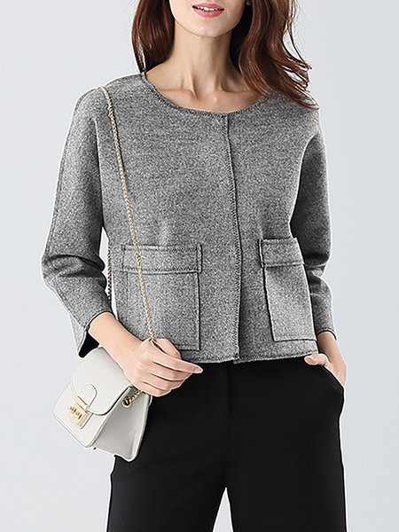 Gray Wool Crew Neck Pockets 3/4 Sleeve  Cropped Jacket