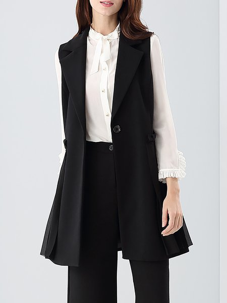 Black Buttoned Simple A-line Lapel Vests And Gilet