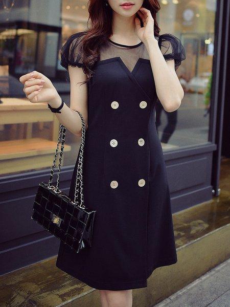 Black Viscose Paneled Casual A-line Midi Dress