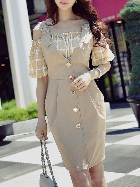 Camel H-line Cold Shoulder Midi Dress