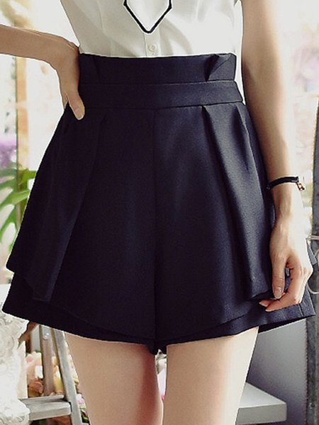 Black Casual Solid Shorts