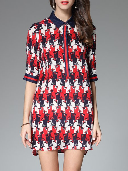 Red Silk Shirt Collar Casual Printed Shirt Dress