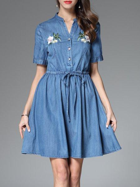 Blue A-line Short Sleeve Embroidery Denim Mini Dress