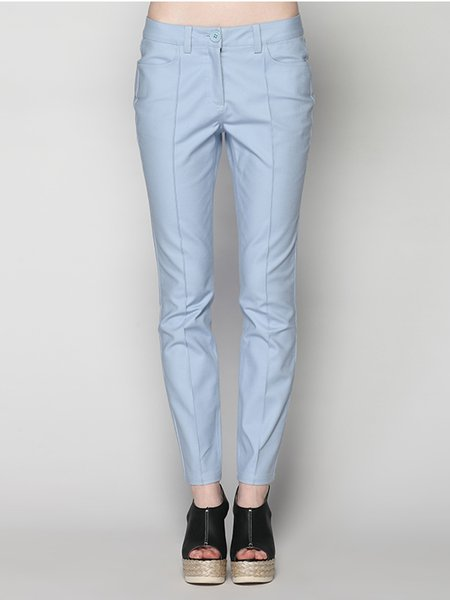 Light Blue Sweet Plain Straight Leg Pants