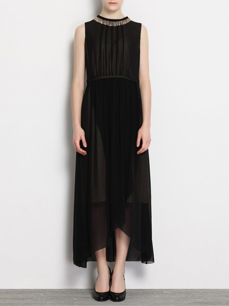 Black Plain Polyester Elegant Midi Dress