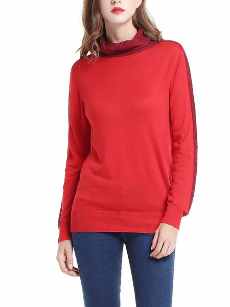 Red Cowl Neck Long Sleeve Sweater
