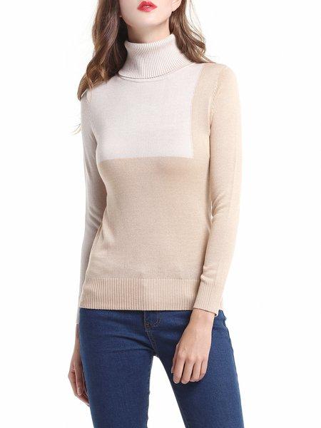 Beige Color-block Casual Sweater