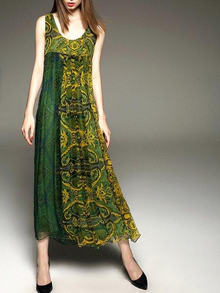 Green Silk Plunging Neck Swing Sleeveless Maxi Dress
