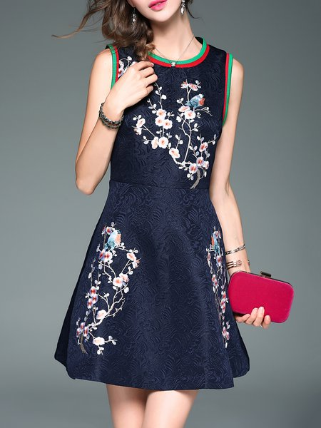 Navy Blue Floral-embroidered Sleeveless A-line Mini Dress