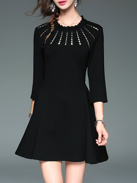 Black Casual A-line Stand Collar Cotton Mini Dress