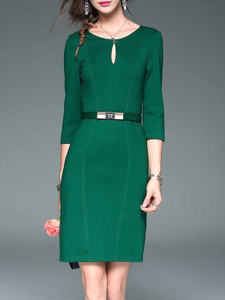 Cutout Elegant 3/4 Sleeve Midi Dress With Belt