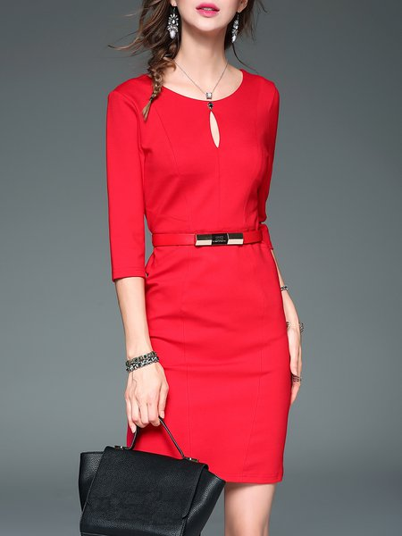Red Cutout Elegant 3/4 Sleeve Midi Dress With Belt