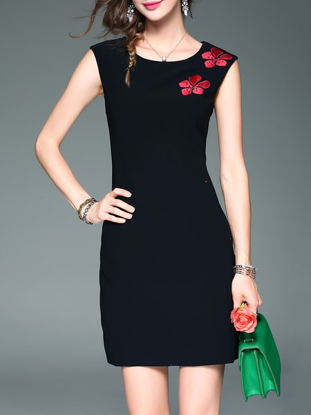 Black Floral-embroidered Sleeveless Sheath Floral Mini Dress