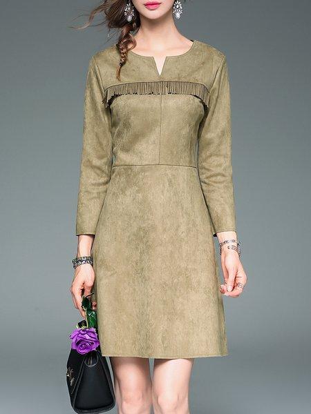 Elegant Fringed Plain Long Sleeve A-line Midi Dress
