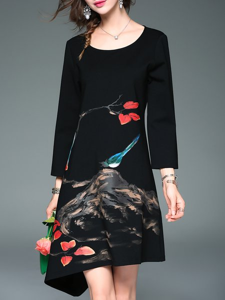 Graphic Casual Floral-print Cotton-blend 3/4 Sleeve Midi Dress