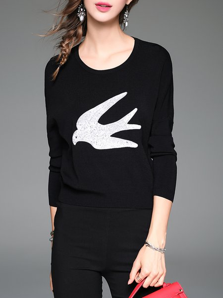 Black Knitted Sequins Embroidery Long Sleeve Sweater