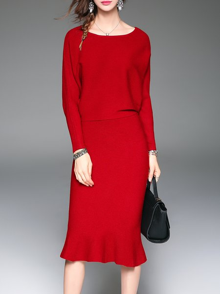 Red Elegant Two Piece Knitted Crew Neck Mermaid Midi Dress