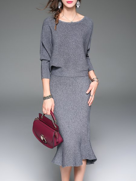 Two Piece Knitted Crew Neck Mermaid Midi Dress