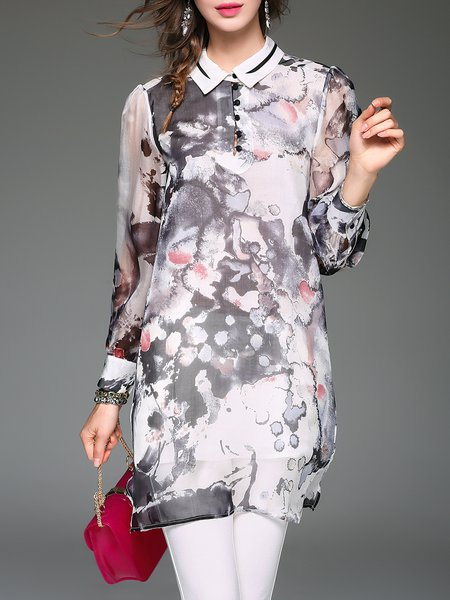 Multicolor Floral-print Vintage Shirt Collar Silk Blouse