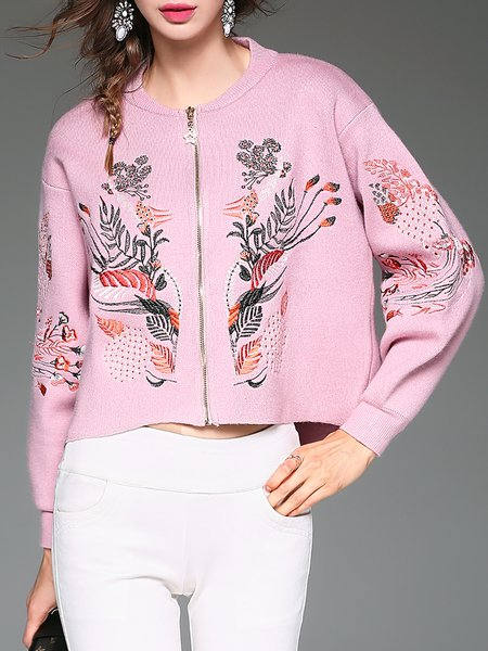 Pink Knitted Floral-embroidered Long Sleeve Cardigan