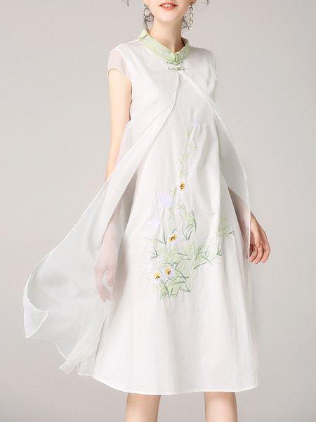 Paneled Stand Collar Simple Sleeveless Midi Dress