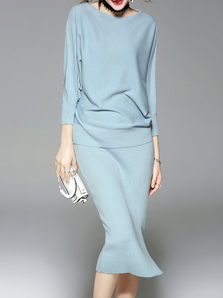3/4 Sleeve Crew Neck Casual Slit Two Piece Top With Skirt