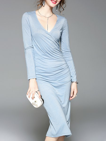 Elegant V Neck Long Sleeve Sheath Midi Dress