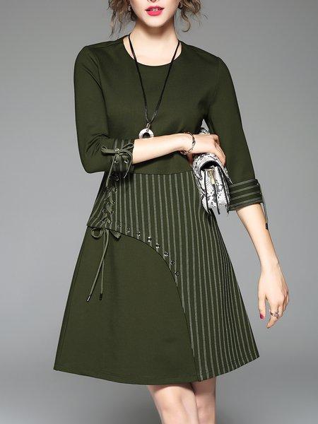 Paneled Casual A-line Stripes Midi Dress