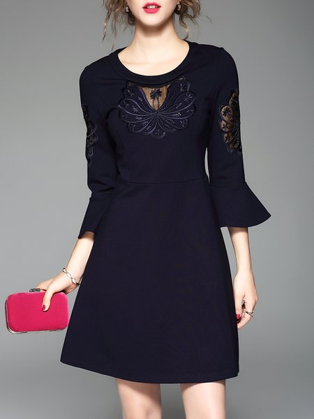 Bell Sleeve A-line Crew Neck Beaded Embroidered Midi Dress