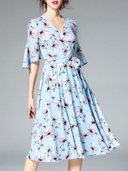 Light Blue Casual Floral Midi Dress