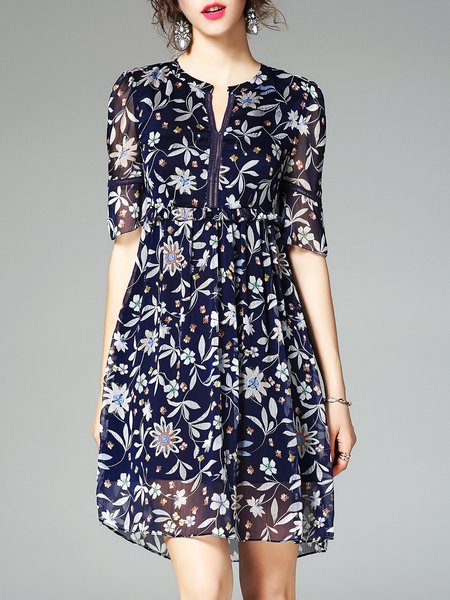 Floral Printed Polyester Half Sleeve Chiffon Dress