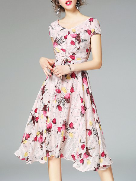 A-line Polyester Printed Midi Dress