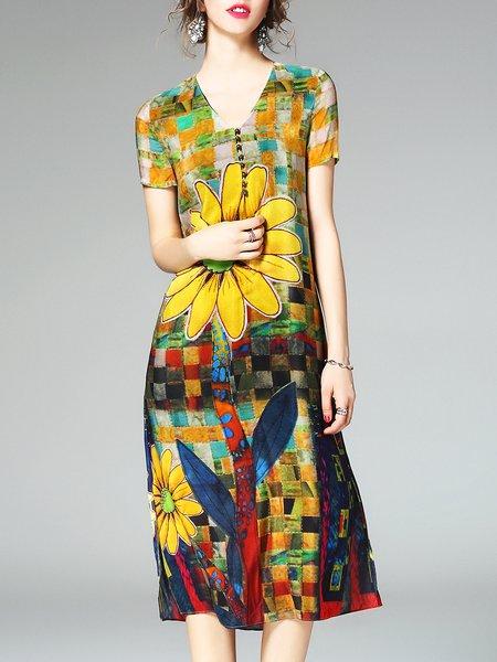 Yellow Floral Casual Printed Midi Dress