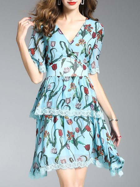 Silk V Neck Short Sleeve Casual Floral Print Lace Layered Midi Dress