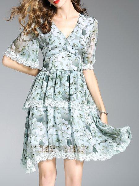 Silk A-line Short Sleeve V Neck Midi Dress