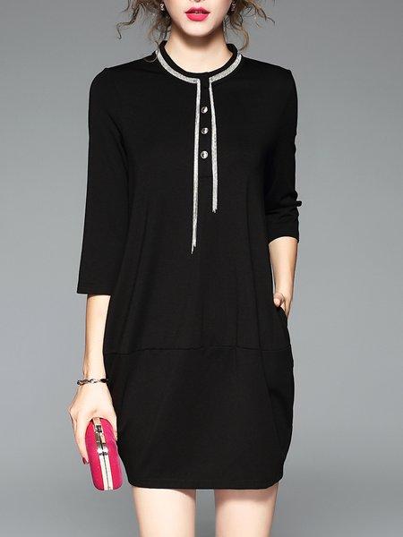 Simple Cotton Solid Mini Dress