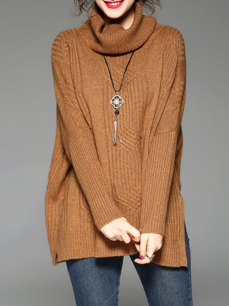 Angora-blend Simple Knitted Solid Sweater