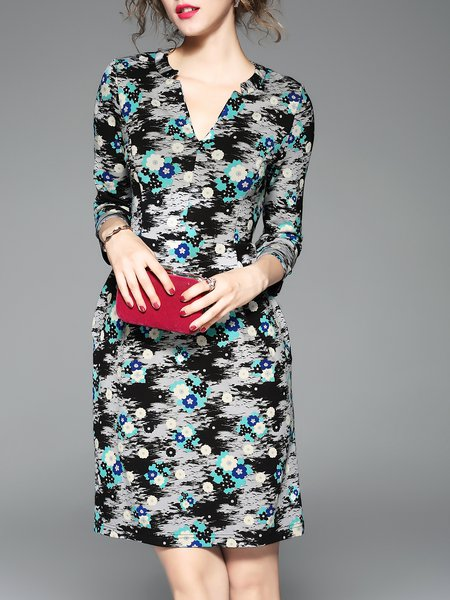 Multicolor  Sheath 3/4 Sleeve Midi Dress