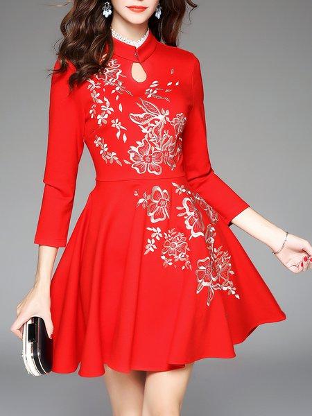 Crochet-trimmed A-line Long Sleeve Midi Dress