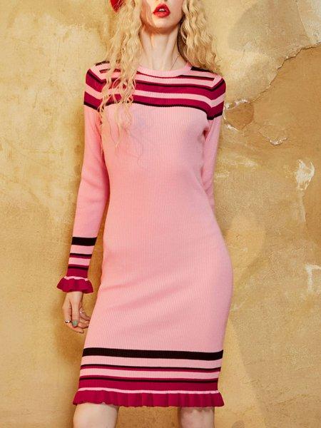 Elegant Sheath Crew Neck  Sweater Dress