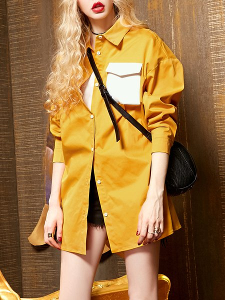 Casual Long Sleeve Shirt Collar Shift Blouse with Pockets