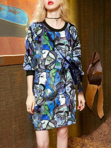 Abstract Printed Shift Crew Neck Long Sleeve Mini Dress
