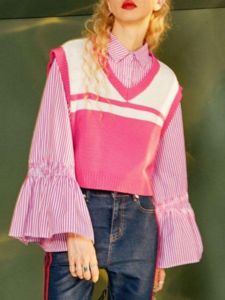 V Neck Sleeveless Casual Sweater