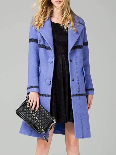 Blue Lapel Long Sleeve H-line Coat